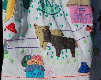 Vintage embroidered skirt southern FOLK ART hand made patchwork quilted skirt TEXAS cowboy lone star folklore sM by thekaliman