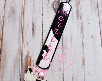 Girl Cow Pacifier Clip: Farm Animal, Baby Girl, Personalized Binky Holder, Universal Paci Clip