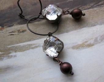 vintage stone brass - the alaina earrings