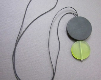 chartreuse and black resin - the finn necklace