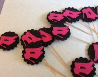 Hot Pink High Heels on Black Food Picks and Basic Cupcake Toppers
