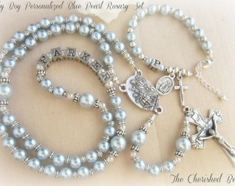 Beautiful Baby Boy Personalized Light Blue Pearl Baptism Set with Guardian Angel
