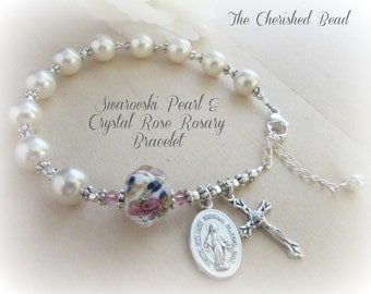 Beautiful Swarovski White Pearl & Pink Rose Crystal Rosary Bracelet