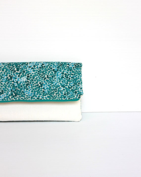 Fold Over Clutch, Foldover Clutch, Teal Green and White Evening Clutch, Folded Handbag