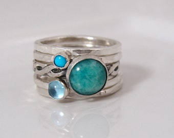 Gemstone Stacking Rings - Amazonite Topaz Turquoise - Sterling silver