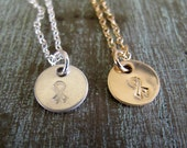 Breast Cancer Necklace, Awareness Jewelry, Hand Stamped, Tiny Circle, Sterling Silver or Gold, Inspirational Jewelry