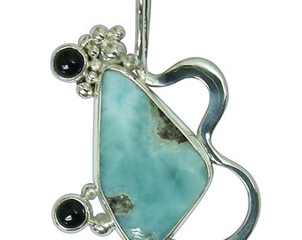 Larimar, Black Onyx and Sterling Silver Pendant  plarj2415