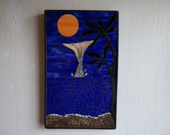 Mosaic Wall Hanging Home Decor, Mermaid,Palm trees, Moon, Breaking waves.Beach Decor, Deep blue