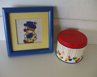 Clown Needlepoint / Hearts and Stars Tin -  Childs Room - Bright Blue and Red Colors -  Circus Theme Decor -  Nursery -