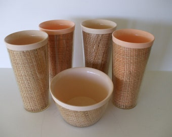 Raffiaware Plastic Tumblers, Bowl, Salmon/Nude, Mid Century, 50's, Home Decor,  Mad Men Era,Party,  Gifts,  #5096