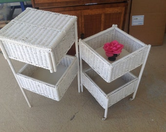 Vintage WHITE WICKER CADDY Folding Wicker Storage Sewing Caddy Cart Shabby Chic Style On Sale at Retro Daisy Girl