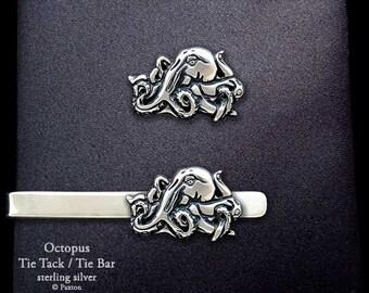 Octopus Tie Tack or Octopus Tie Bar / Tie Clip Sterling Silver