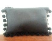 Black Leather PomPom Clutch