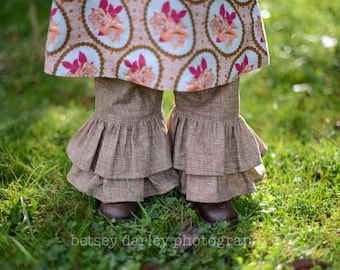 Girls Double Ruffle Brown Latte Pants Sizes 12MO - 8