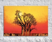 Sun Dog with Bronze - Original Modern Contemporary Art African Tree Painting