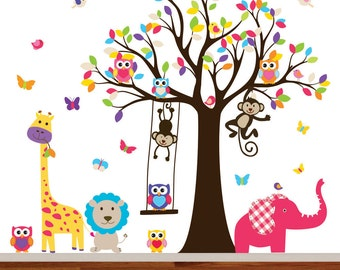 VACATION SALE-All orders ship Aug 15th!! Nursery Tree Decal, Colorful Wall Decal