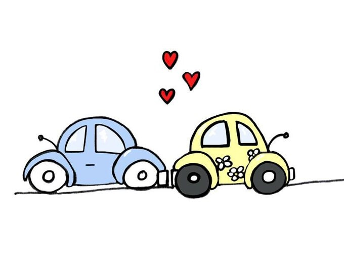 You're My Love Bug I love you Card with two VW Beetle Bug Cars made on recycled paper, comes with envelope and seal