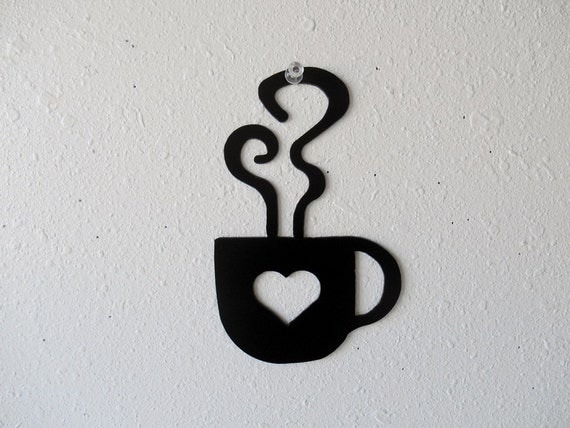 Heart Coffee Cup Wall Art  Metal Wall Decoration