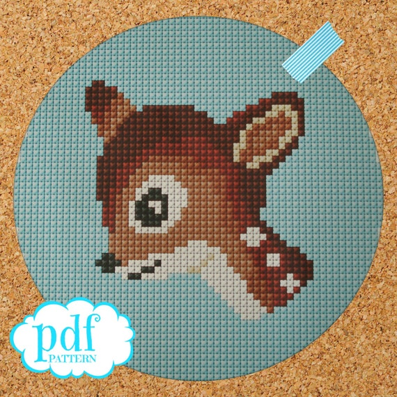 Deer head pattern. Bambi cross stitch. Needlepoint tapestry. Nursery decor. Easy x stitch. Woodland creature. PDF instant download