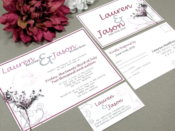 Queens Lace Wedding Invitation Suite Rustic Invites Floral Wedding Invitations Flower Pocket Suite Pink and Gray Wedding by RunkPock Designs
