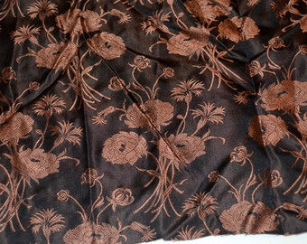 Vintage 1950s Floral Asian Silk Fabric Pieces