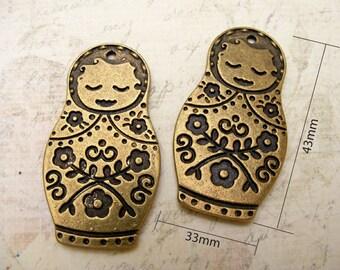 2pcs ZINC BIG Matryoshka russian doll (double sides) , Antique Brass Plated Charm Pendant