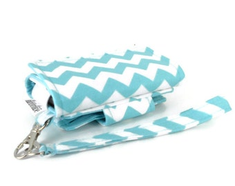 Cell Phone Wallet, Wristlet for iPhone/Galaxy - The Errand Runner - Chevron in Aqua/Aqua