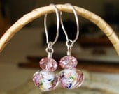 White, Pink, and Red Faceted Lamp Work Earrings   C 4-12