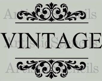 STENCIL Vintage with Scroll Brackets  10x13