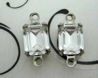 8x6 Swarovski Crystal Rhinestone Crystal Clear Octagon in Settings Qty 1 Pair