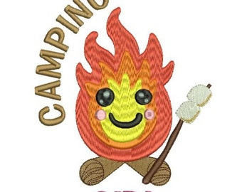 Camping Girl Machine Embroidery Design 3 Sizes