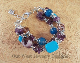 Cowgirl Bracelet - Chunky Amethyst Nuggets - Teal Agate and Blue Howlite Turquoise