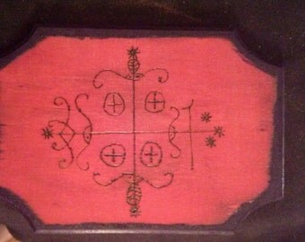 Handmade and Blessed Papa Legba Voodoo Loa Veve Altar Tile: Elegua, Exu, Eshu
