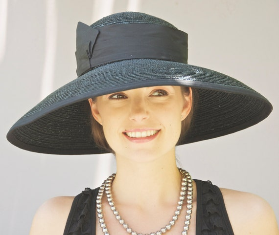 Black Wide Brim Hat. Audrey Hepburn Hat, Kentucky Derby Hat. Church Hat, Wedding Hat, Funeral Hat, Memorial Service Hat, Women's Black hat