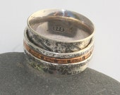 Silver and copper spinner ring, mixed metal