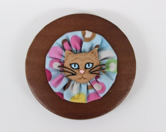 Wood and Fabric Cat Face Button Brooch