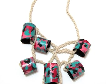 Pay Attention To Me - Crocheted Cotton Painted Cardboard Handmade Colorful Necklace