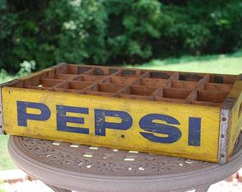 Vintage Wood Pepsi Cola Bottled Soft Drink Crate, Shadow Box, Pepsi Crate.