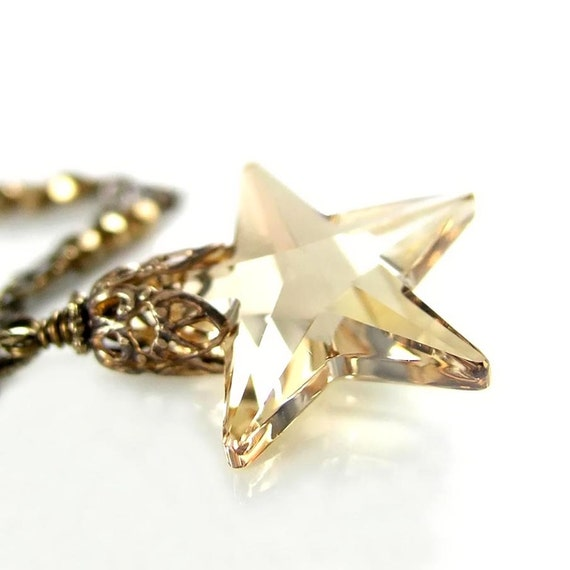 Champagne Crystal Star Necklace Silky Golden Shadow Swarovski Crystal Star Pendant Necklace Antique Gold Star