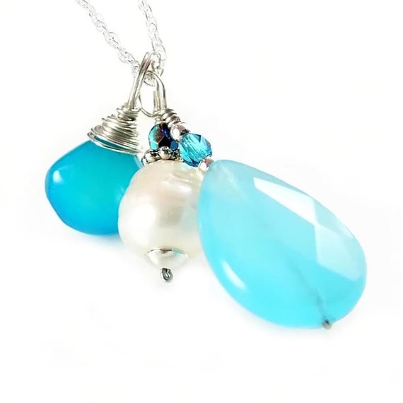 Blue Chalcedony Necklace Blue Gemstone Necklace Sterling Silver Sea Blue Opal Quartz Necklace White Freshwater Pearl