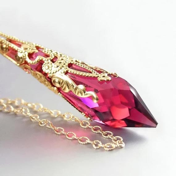 Crystal Ruby Necklace 14K Gold Fill Chain Necklace Swarovski Crystal Necklace July Birthstone Jewelry Victorian Pink Ruby Pendant Necklace