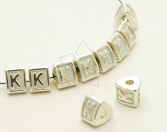 IN-324-SL / 4 Pcs - Initial Spacer Beads (White) Alphabet, Letters, Upper case, K, Silver Plated over Brass / 6mm x 5.3mm