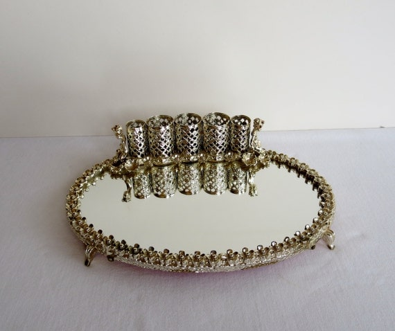 Small Vanity Mirror with Lipstick Holders - Gold Filigree Mirrored Tray