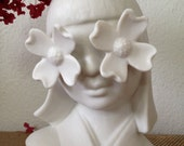 Art Deco Inspired Porcelain Double Dogwood Flower Girl Head Vase