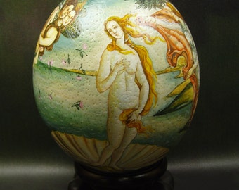 The Birth of The Venus/ Hand Painted on Ostrich Egg Shell/ Ostrich Egg Art/ Egg Art