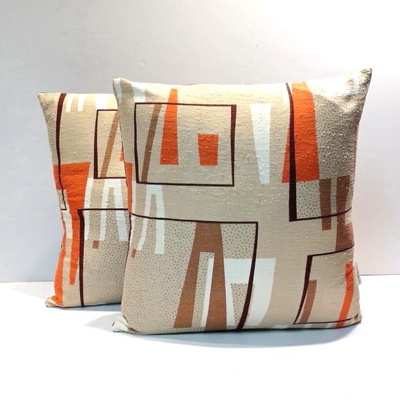 Mid Century Danish Modern Barkcloth Pillows Vintage 1950s