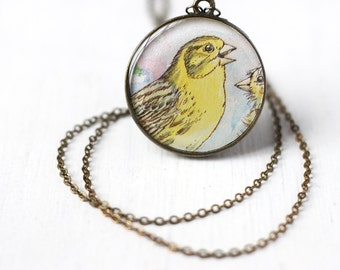 Yellow Canary Bird Vintage Art Pendant Necklace, for People that Loves Birds, Pendant in Lemon Yellow and Blue