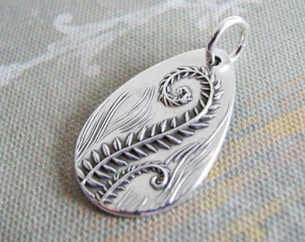 Fiddleheads, Artisan PMC Jewelry, Fine Silver Fern Pendant, SilverWishes Original and Exclusive