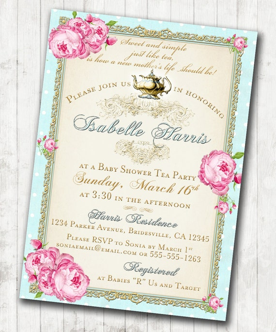 tea party baby shower tea party invitation floral vintage pink