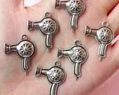 Hair Dryer Charms Hairdresser Blow Dryer Charm (6pcs) (21mm x 27mm / Tibetan Silver) Pendant Bracelet Earrings Zipper Pulls Keychains CHM157